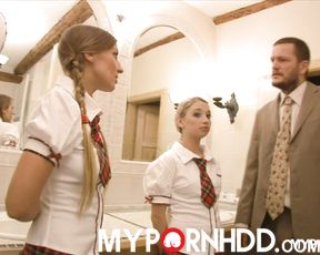 The Principal fucks two naughty students Mila and Morgan in their tight asses