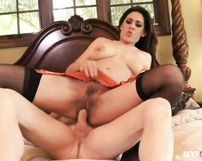 Brunette Raylene bounces her pussy on this hard dick