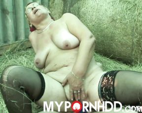 Naughty granny fuck in the stables