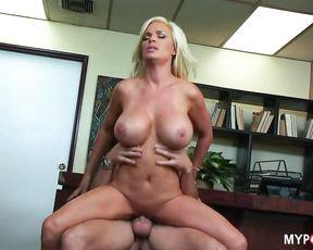 Blonde Diamond with Big Tits fucks hard