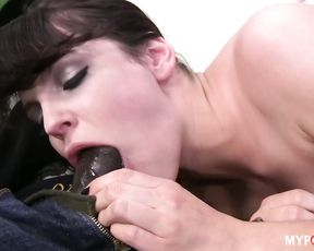 Brunette Bobbi takes this hard dick deep in her tight ass