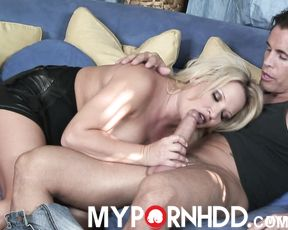 Blonde MILF Rachael Luv gets her big tits round a hard cock
