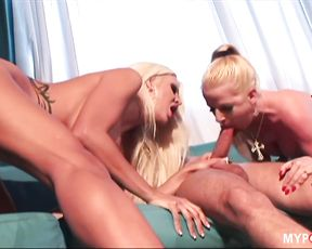 Threesome with sexy blondes Anita and Michelle