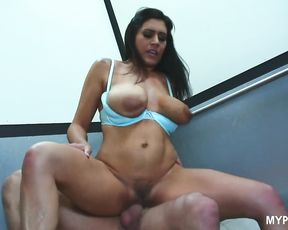 Hot sex with seductive brunette Raylene in the elevator