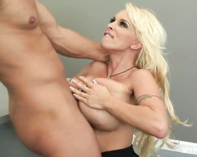 Hot blonde with big boobs Holly Halston seduces office boy