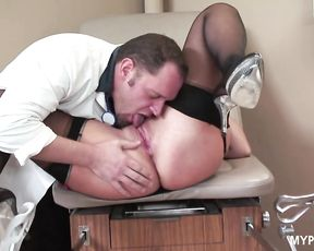 Hot sex with beautiful brunette Heidi Mayne in the doctor's office