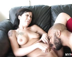 Brunette Vanessa knows how to raise a big black cock