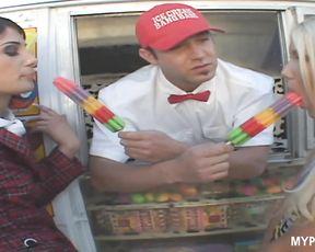 Hot schoolgirls Aubrey Adams and Dahlia Denyle love to eat ice-cream and suck hard dick