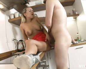Hot housewife sucks plumber's cock