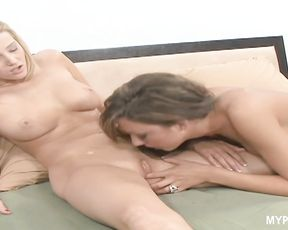 Naughty Carli Banks and Tiffany Brookes caress wet pussies to each other