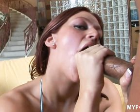 Eve Lawrence jerking his hard cock