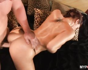 Cock sucking Eve Laurence plays with sexy tits