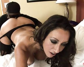 MILF Persia Monir spreads her lips around this hard black cock
