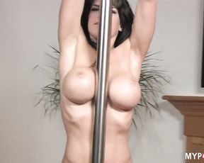 Brunette BROOKE SHINE and hot sexy dances on the pylon