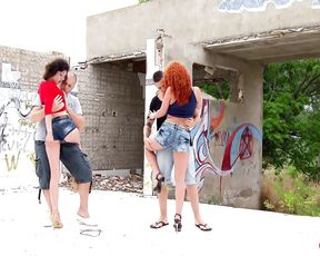 Redhead DIXIE fucked in abandoned place in front of photographer