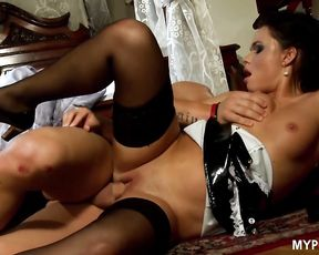 Employer caught slutty maid Frida playing with dildo and fucked her