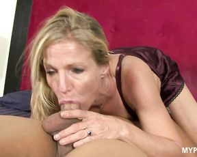 Insatiable blonde MILF Violet loves to ride on the her husband's cock