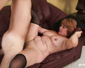 Redhead MILF Calliste Fockeart loves hard cock in her wet pussy and thick cum on her tits