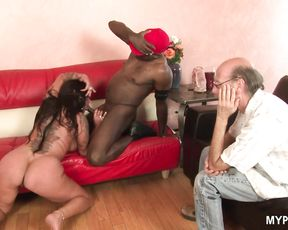 Gorgeous MILF Nikita Denise fucked hard by black dick while her husband watches