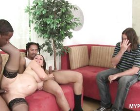 Cuckold hubby watches on wife while two black cocks fuck her