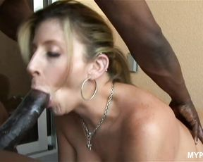 Blonde MILF Sara Jay loves hard black cock between her huge oiled boobs