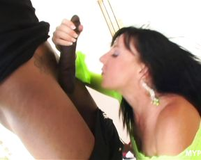 Depraved brunette MILF Karen Kougar loves hard black cock and cum in her mouth