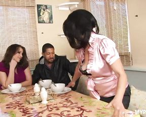 Crazy brunette MILFs Melissa Monet and Mandy Sweet enjoy tough black cock