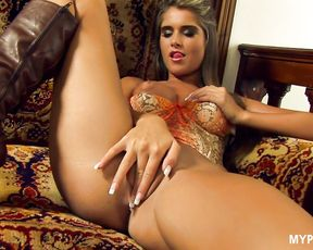 Beautiful babe Nessa Devil enjoys vibrator in her tight ass
