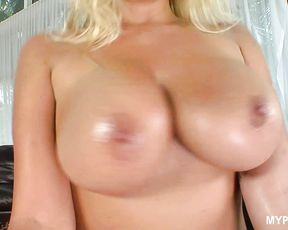 Heavy cumshot on big boobs for blonde MILF Robbye Bentley